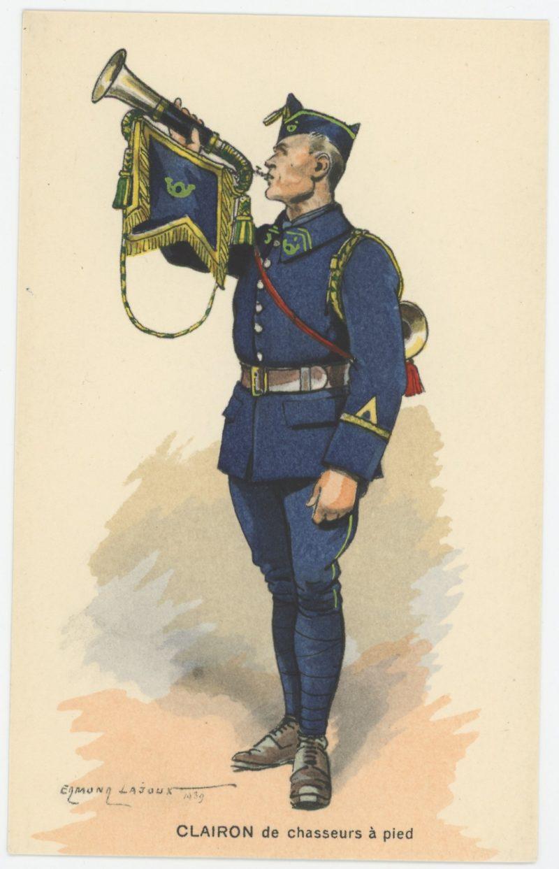 Carte Postale Illustrée - Edmond Lajoux - Edition Militaire Illustrées - Clairon de Chasseur à Pied - 1930