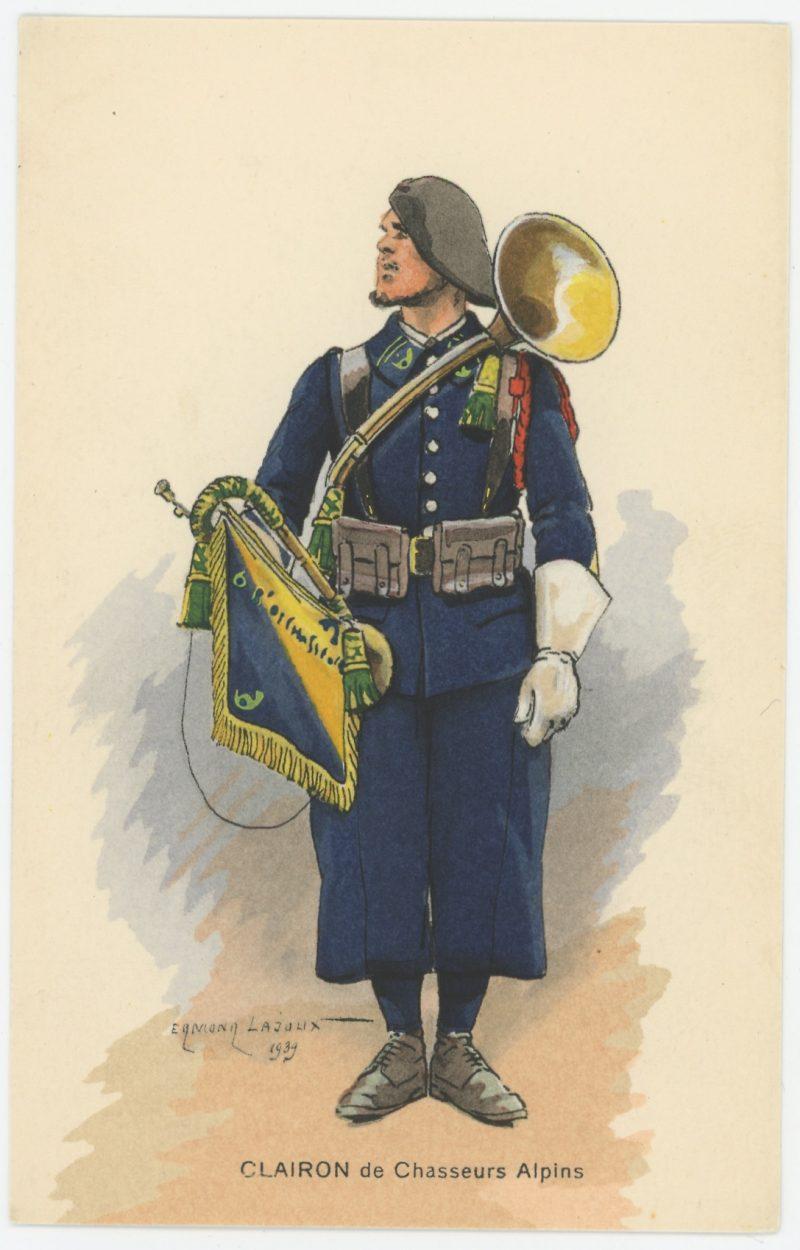 Carte Postale Illustrée - Edmond Lajoux - Edition Militaire Illustrées - Clairon Chasseur Alpin - 1930