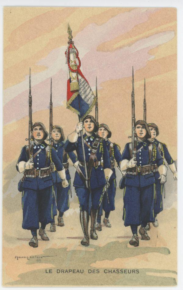 Carte Postale Illustrée - Edmond Lajoux - Edition Militaire Illustrées - Chasseurs Drapeau - 1930