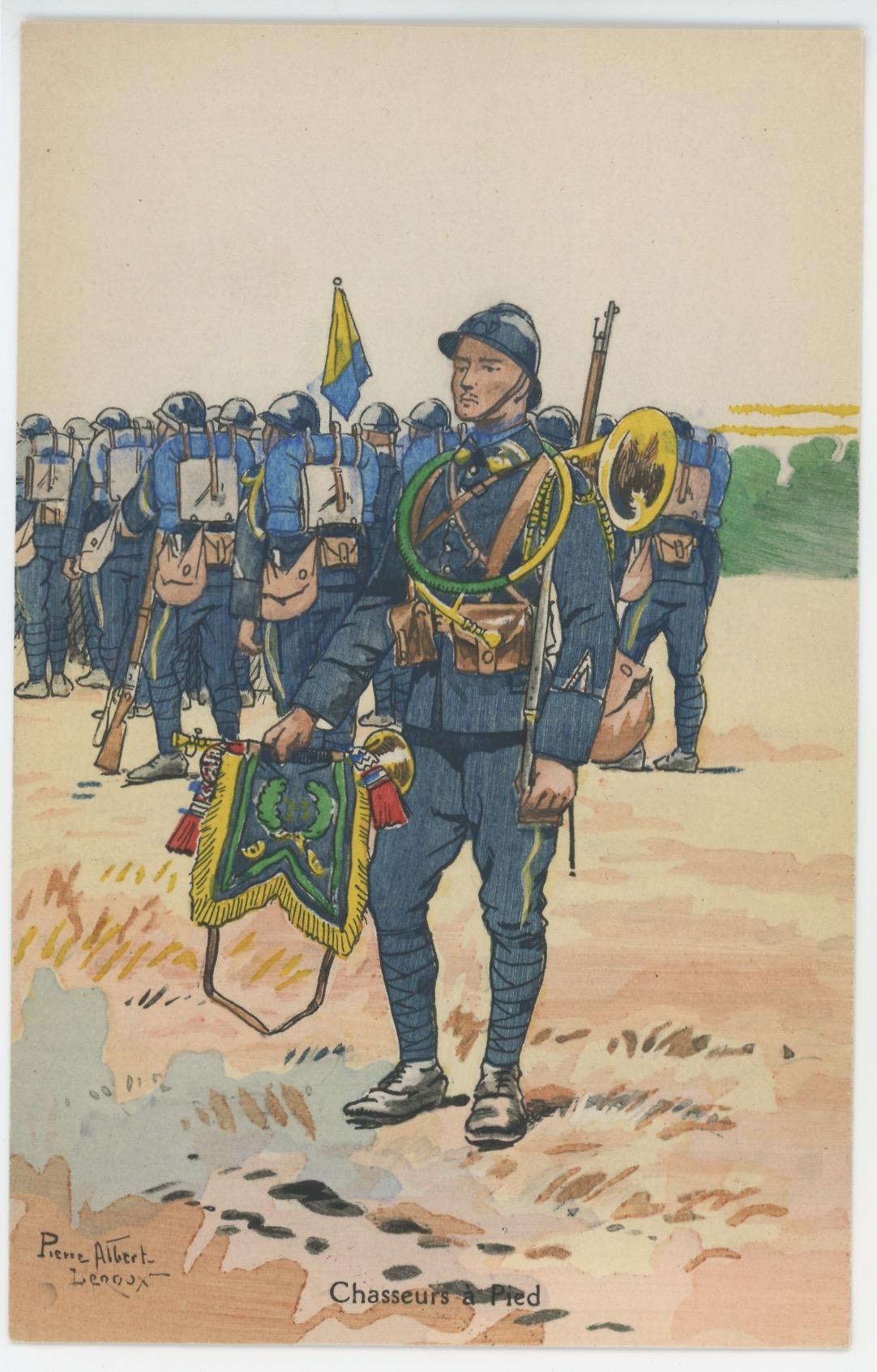 Carte Postale Illustrée - Pierre Albert Leroux- Edition Militaire Illustrées - Chasseurs à Pied - 1930