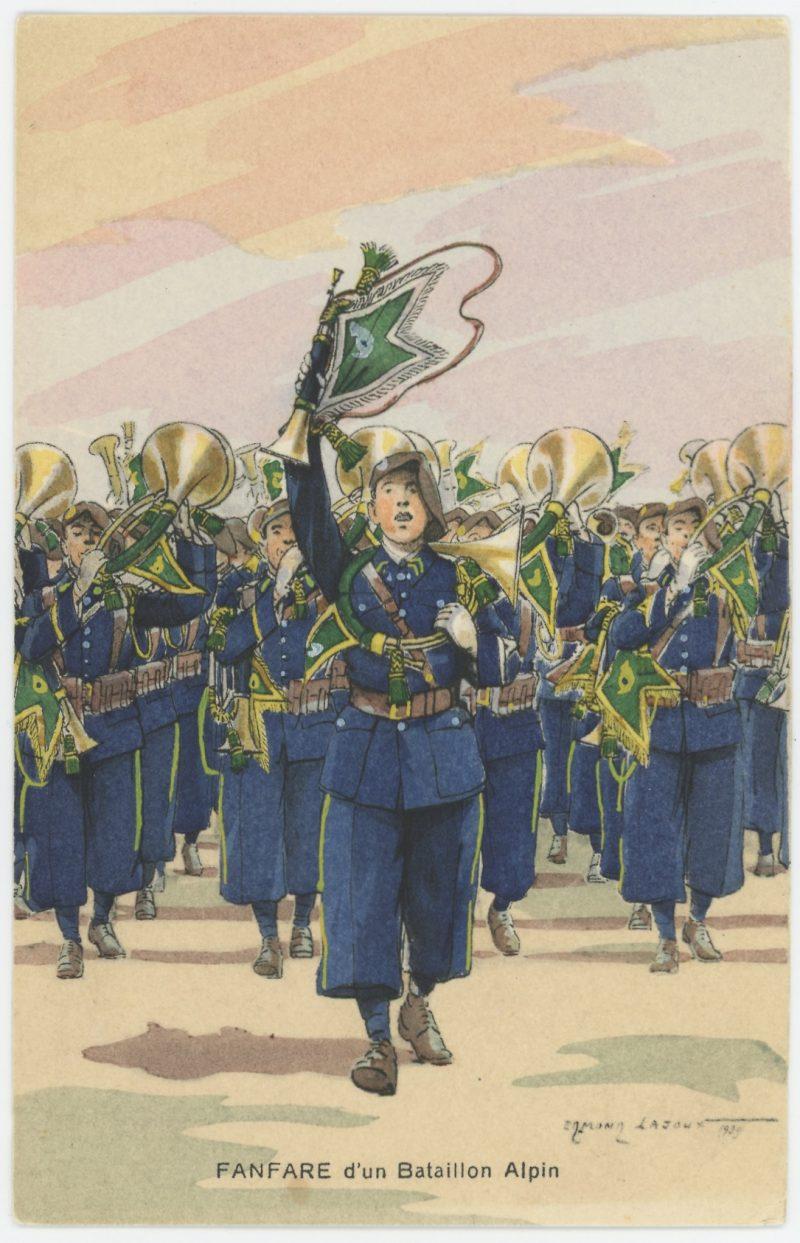 Carte Postale Illustrée - Edmond Lajoux - Edition Militaire Illustrées - Bataillon Alpin Fanfare- 1930