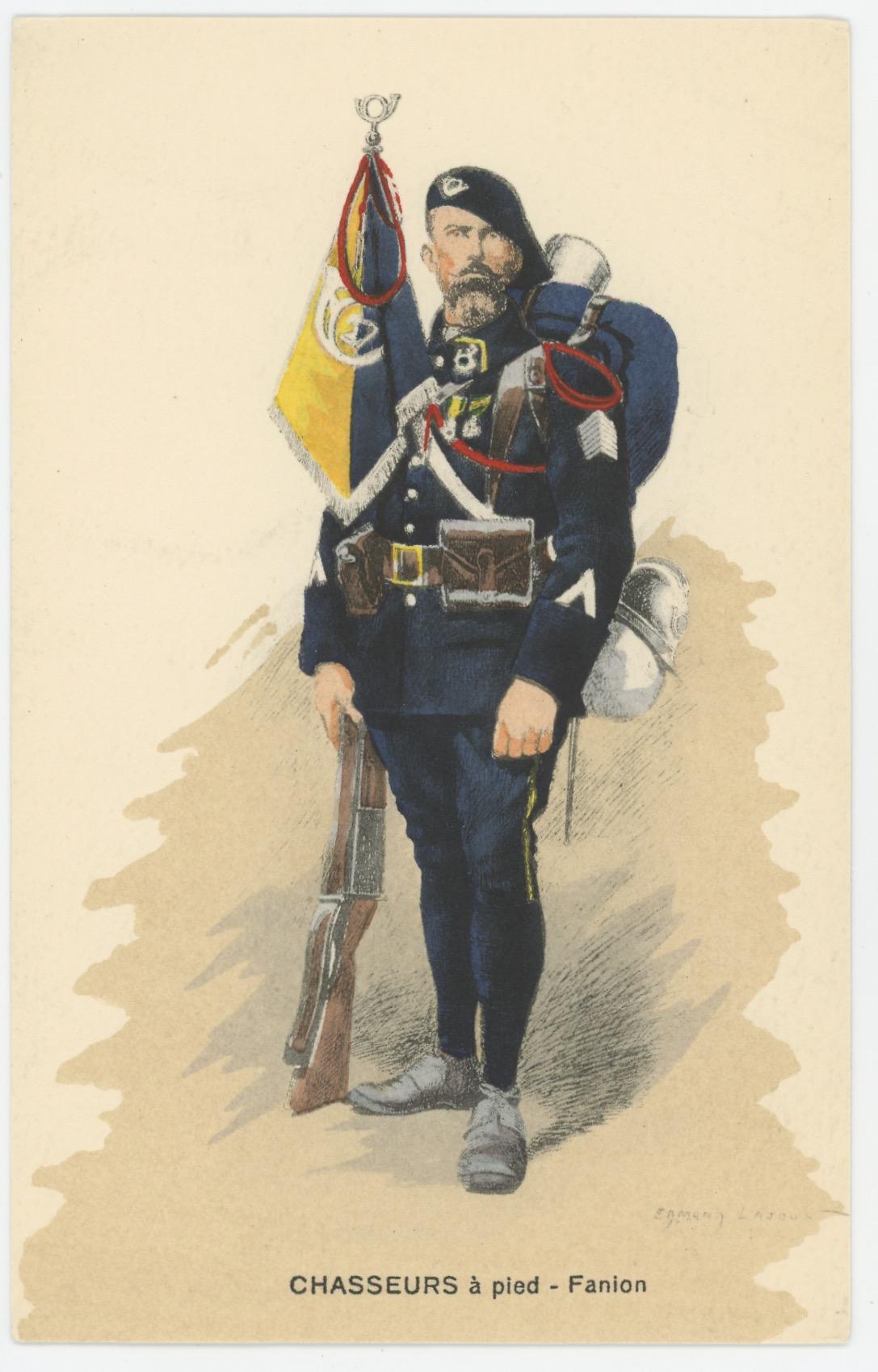 Carte Postale Illustrée - Edmond Lajoux - Edition Militaire Illustrées - Chasseur à Pied Fanion - 1930