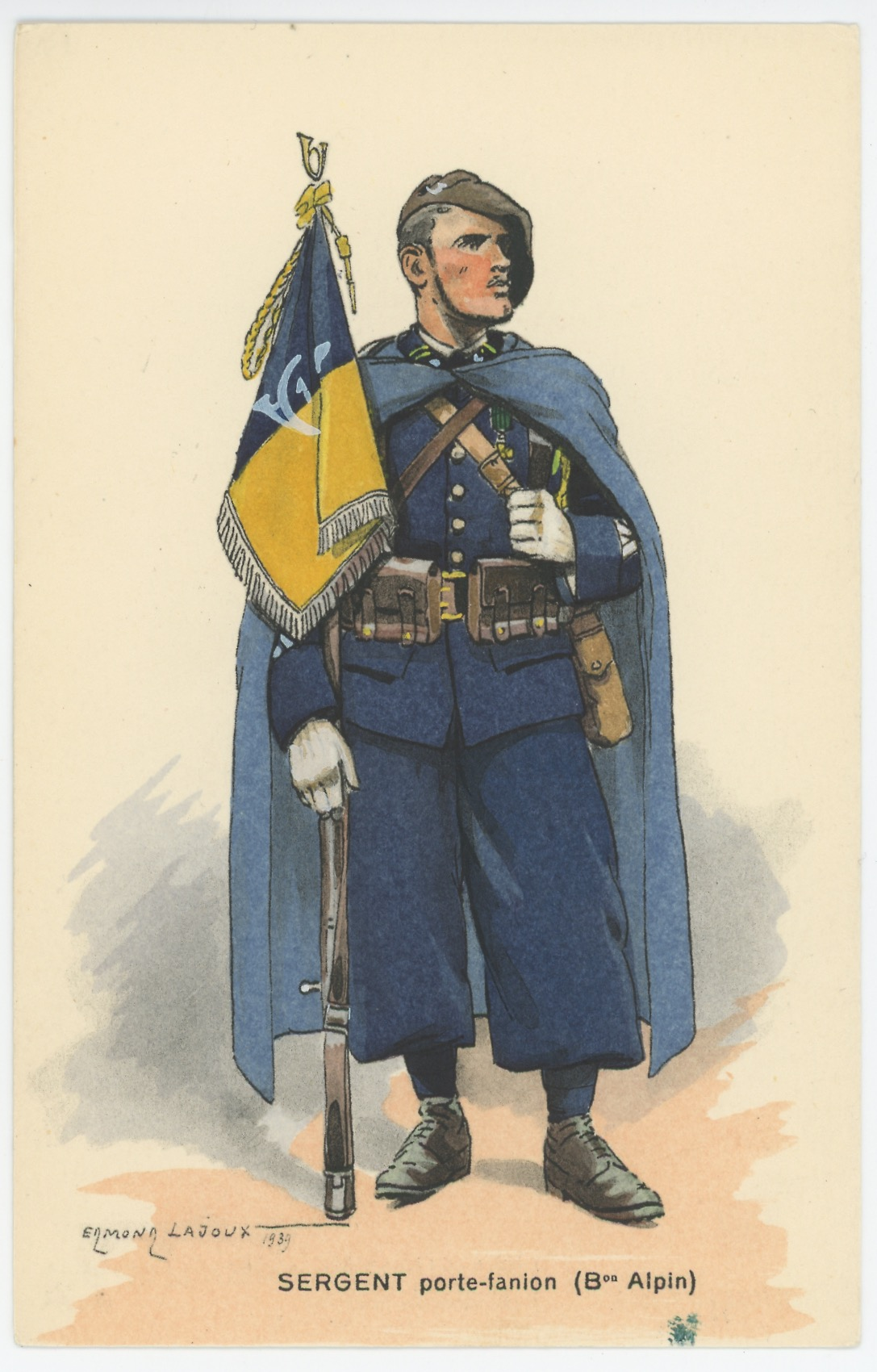 Carte Postale Illustrée - Edmond Lajoux - Edition Militaire Illustrées - Bataillon Alpin Porte Fanion - 1930