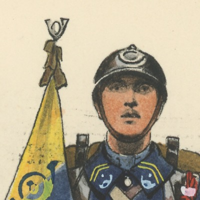 Carte Postale Illustrée - Edmond Lajoux - Edition Militaire Illustrées - Porte Fanion Chasseur à Pied - 1930