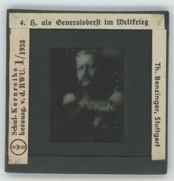 Serie de 5 diapositives d'école anciennes - Histoire de Hindenburg - Prusse - 1866 - 1918 - Uniformes - Guerre - Famille