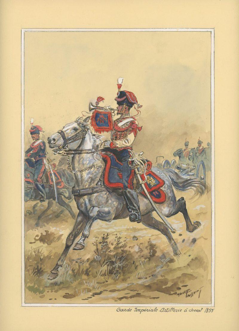 Dessin crayon rehaussé - Artillerie à Cheval de la Garde 1855 - Musicien - Second Empire - Uniforme - Aquarelle Originale - Maurice Toussait