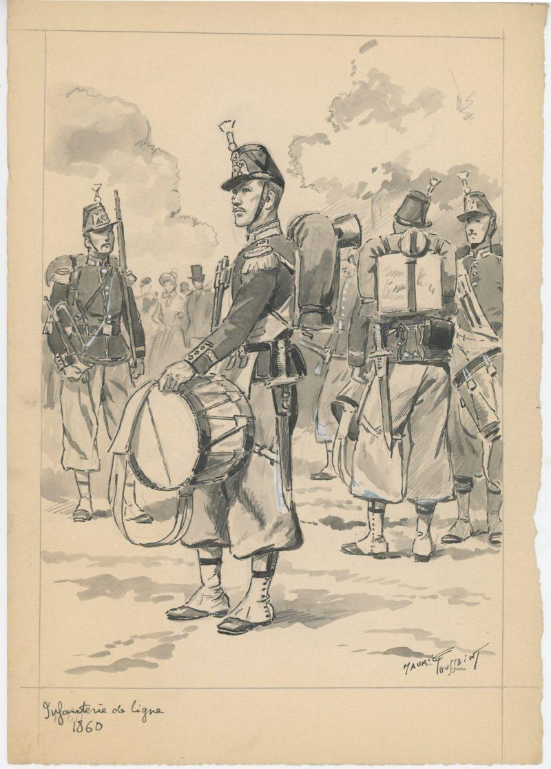 Dessin crayon rehaussé - Infanterie de Ligne 1860 - Tambour - Second Empire - Uniforme - Aquarelle Originale - Maurice Toussaint