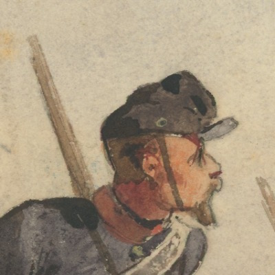Dessin étude crayon rehaussé - Artillerie Caisson Servants - Second Empire - Uniforme - Aquarelle Originale - Attribué à Pils