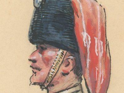 Dessin crayon rehaussé - Chasseur à Cheval de la Garde - Officier - Second Empire - Uniforme - Aquarelle Originale - Maurice Toussaint