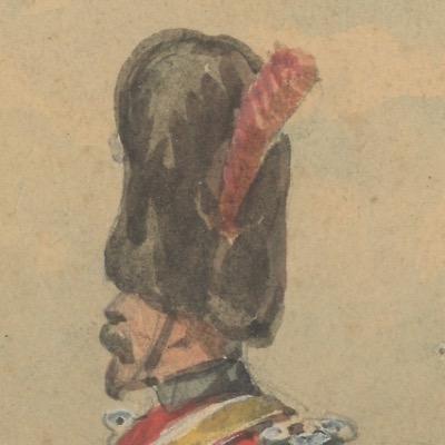 Dessin crayon rehaussé - Gendarme à Cheval Garde Impériale 1853 - Second Empire - Uniforme - Aquarelle Originale - Charles de Luna
