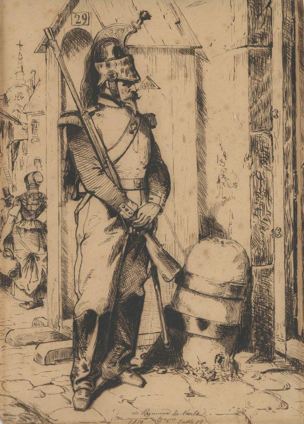 Dessin étude plume et encre - Dragons en service à pied 1859 - Second Empire - Uniforme - Dessin Originale - Attribué