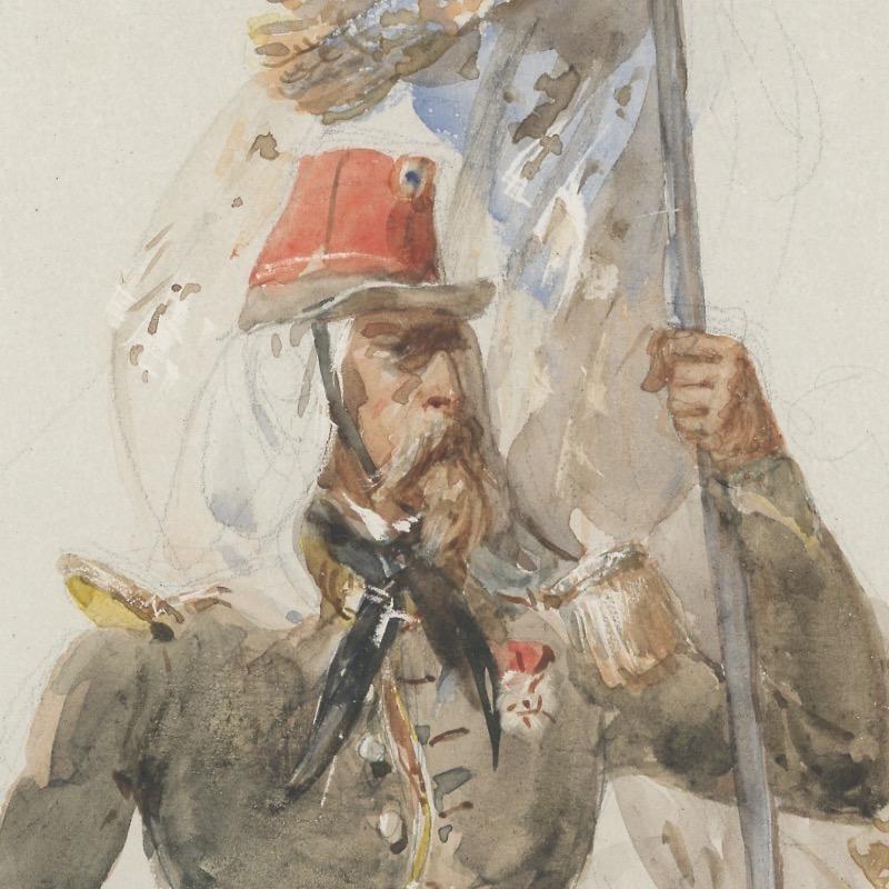 Dessin Aquarelle - Infanterie Française - Second Empire - Uniforme - Dessin Originale - François Hippolyte Lalaisse