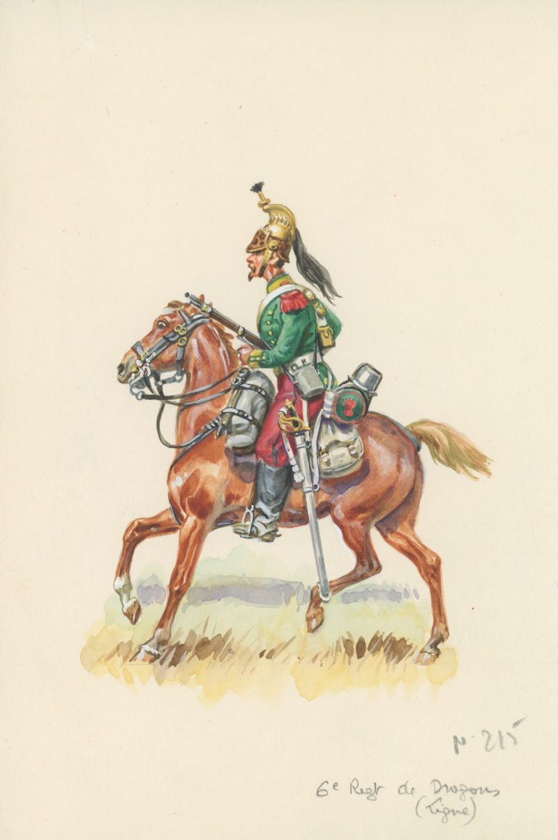 Dessin crayon rehaussé - Dragons à Cheval - Second Empire - Uniforme - Aquarelle Originale - Eugène Leliepvre