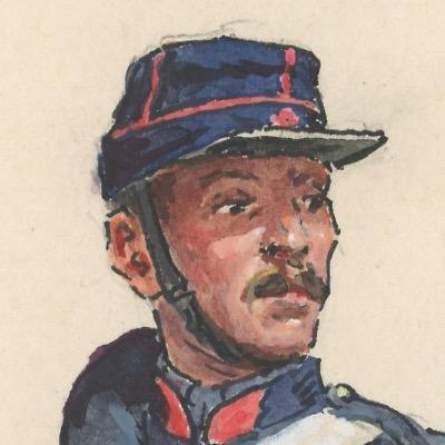Dessin crayon rehaussé - Artillerie Montée - Artilleur - Second Empire - Uniforme - Aquarelle Originale - Lucien Rousselot