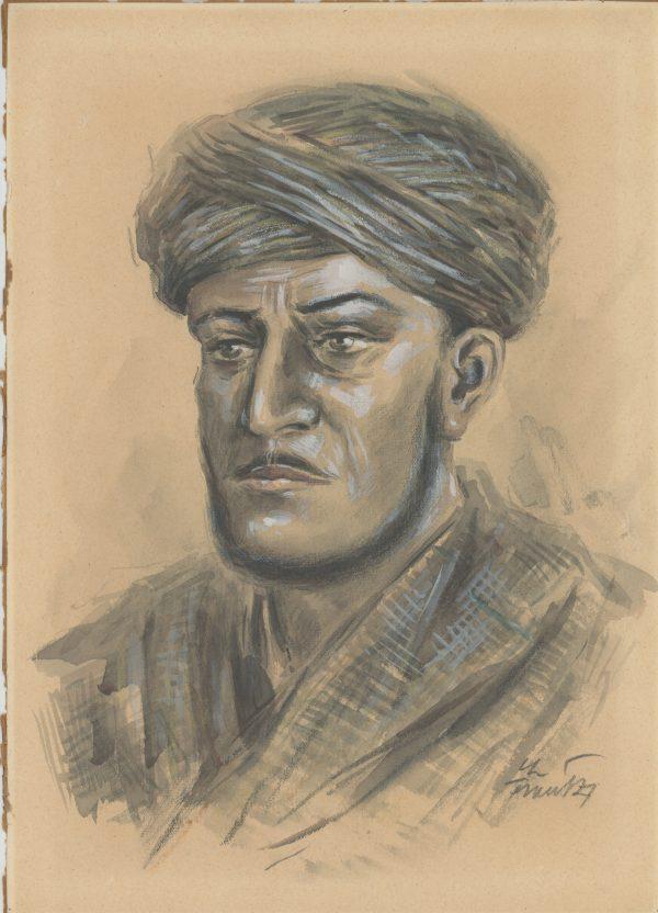 Dessin Aquarelle - Infanterie Française Tabor Marocain - 2nd Guerre Mondiale - Uniforme - Dessin Originale Signé - Goumiers marocains