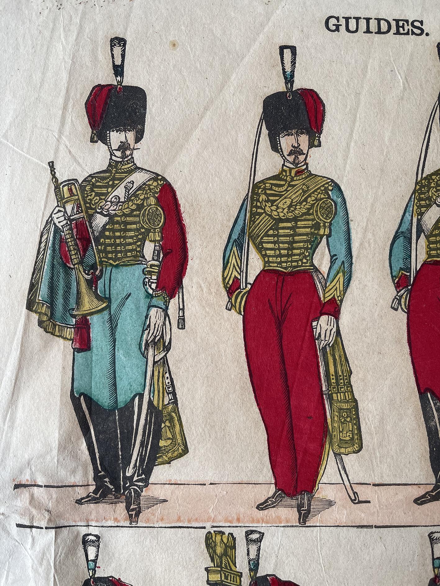 Planche imagerie Epinal - Pellerin Editeur - N°257 - Guides de la garde Impériale - Second Empire - Armée Française