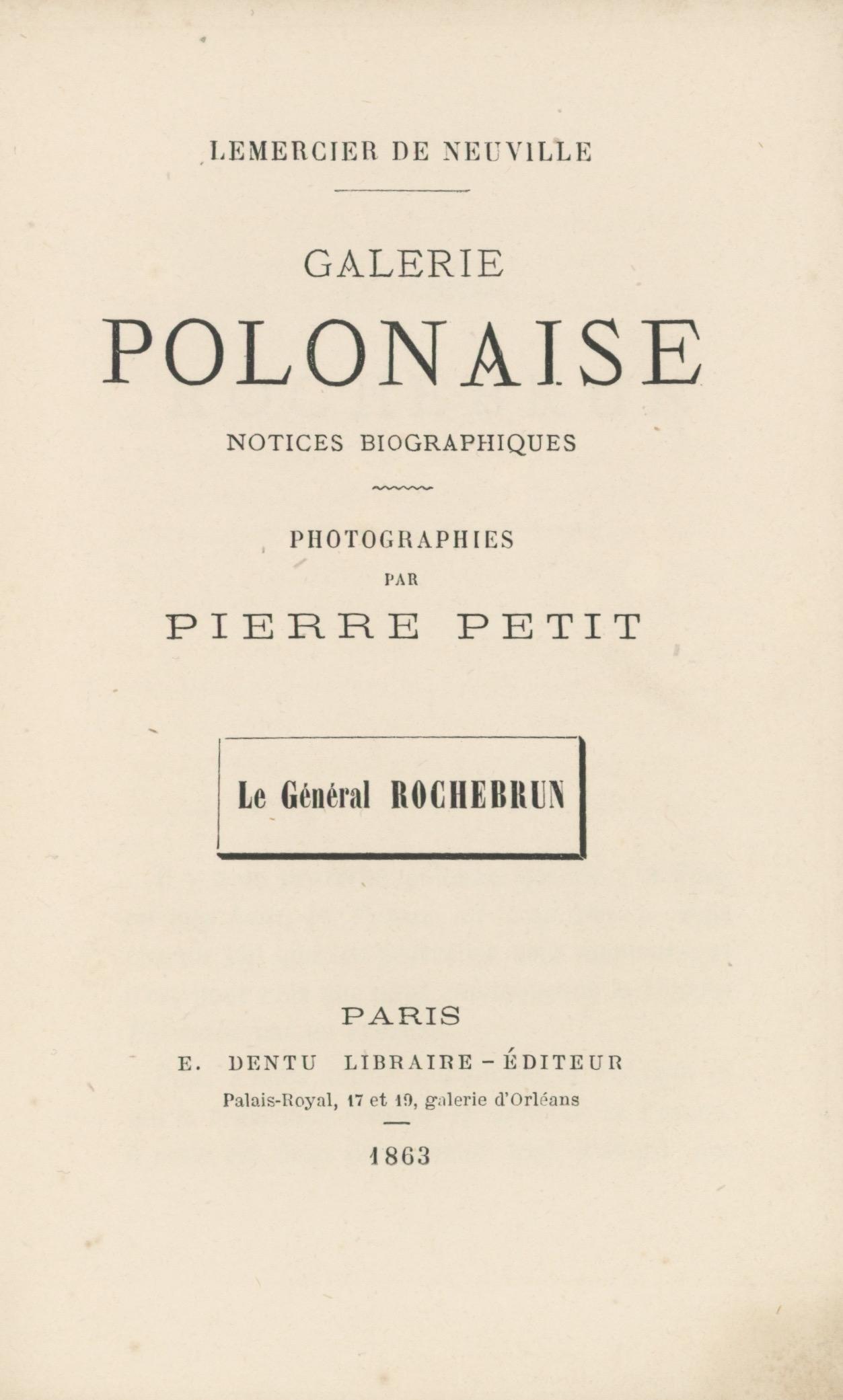 CDV Militaire - Ancienne Photographie - Zouaves de la mort - Uniforme - 1863 - Général Rochebrun - Pierre Petit Photographe - Pologne