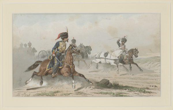 Dessin Aquarelle - Artillerie Française - Garde Impériale - Second Empire - Uniforme - Dessin Originale - Théodore Fort