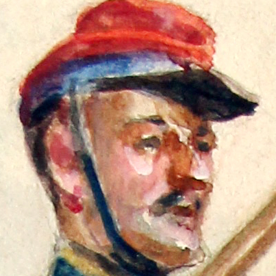 Peinture Aquarelle - Soldat Hussard - Second Empire - Portrait Uniforme - Dessin Originale - Signature Ch. Meyer 1946 - Napoléon III