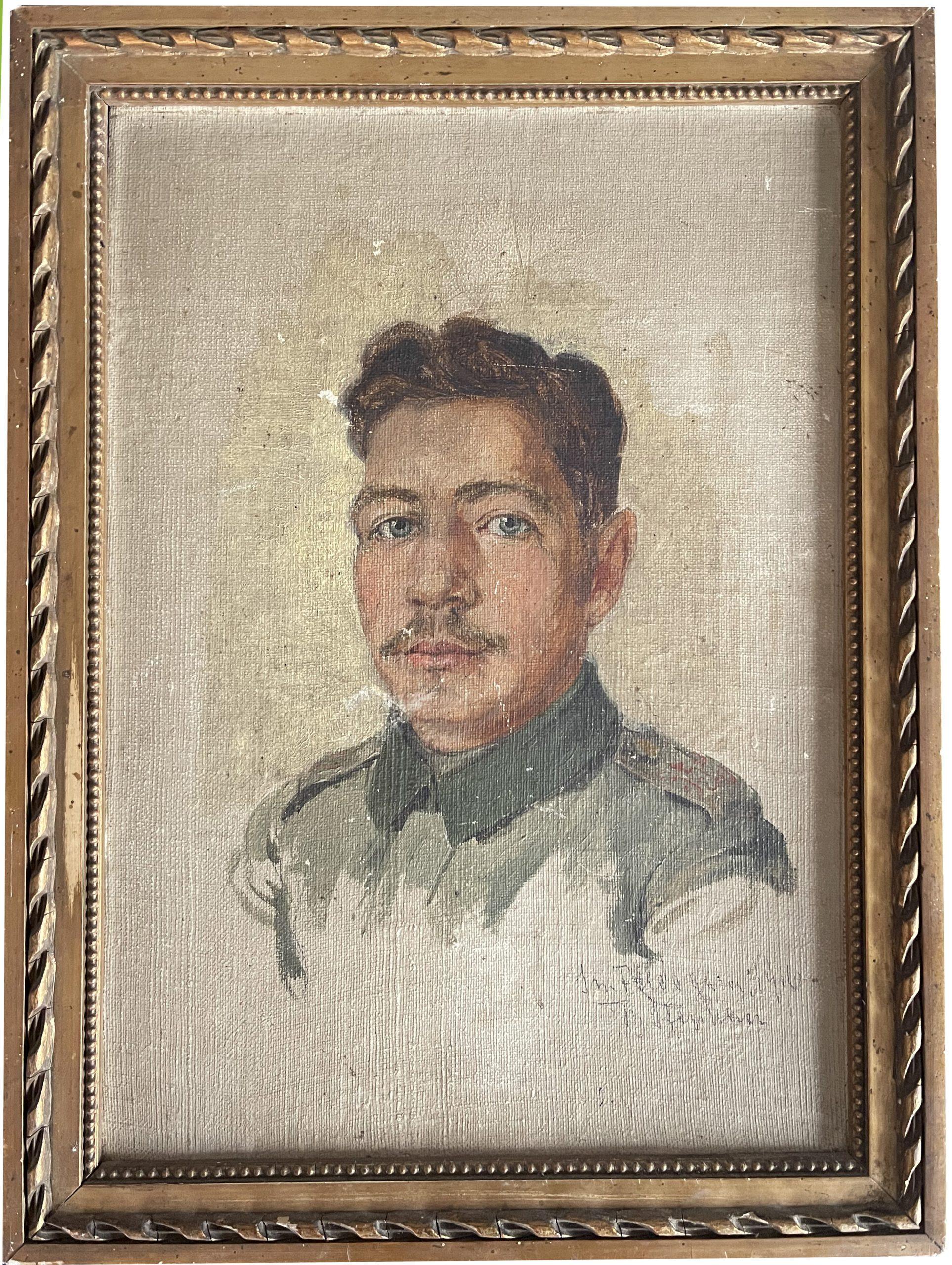 Peinture Portrait Carton Toilé - Soldat Allemand - Guerre 14/18 - Portrait Uniforme - Dessin Originale - Signature 1916