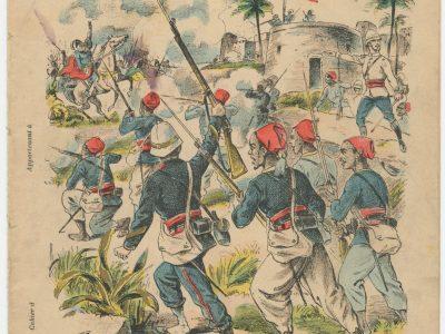Petit Protège Cahier Scolaire Histoire de France - XIX illustration - Le Drapeau Français - La Mission Marchand - Fachoda - Tirailleurs Sénégalais