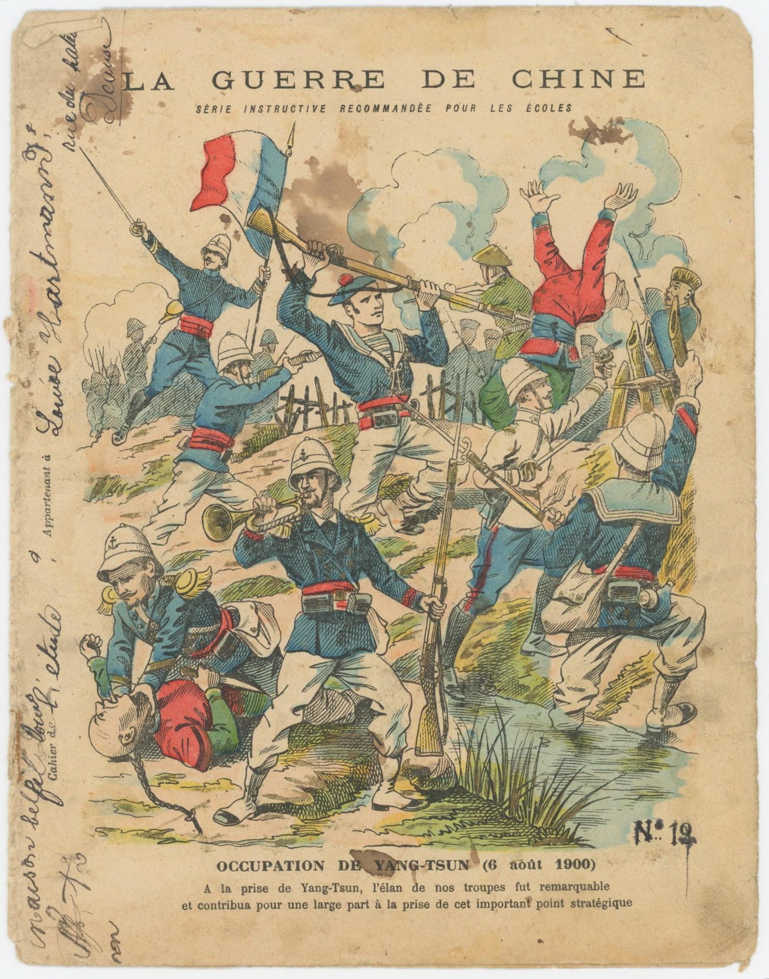 Petit Protège Cahier Scolaire Histoire de France - XIX illustration - Le Drapeau Français - La Guerre en Chine 1900 - Marsouins à l'attaque - Occupation de Yang-Tsun
