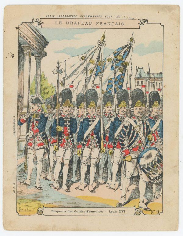 Petit Protège Cahier Scolaire Histoire de France - XIX illustration - Le Drapeau Français - René Louis - Garde Français Louis XVI