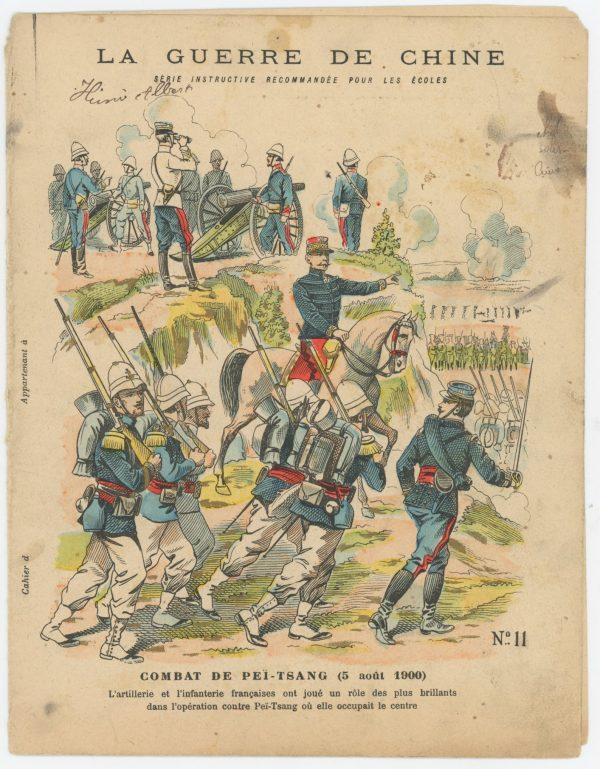 Petit Protège Cahier Scolaire Histoire de France - XIX illustration - Le Drapeau Français - La Guerre en Chine 1900 - Marsouins à l'attaque - Combat de Peï-Tsang
