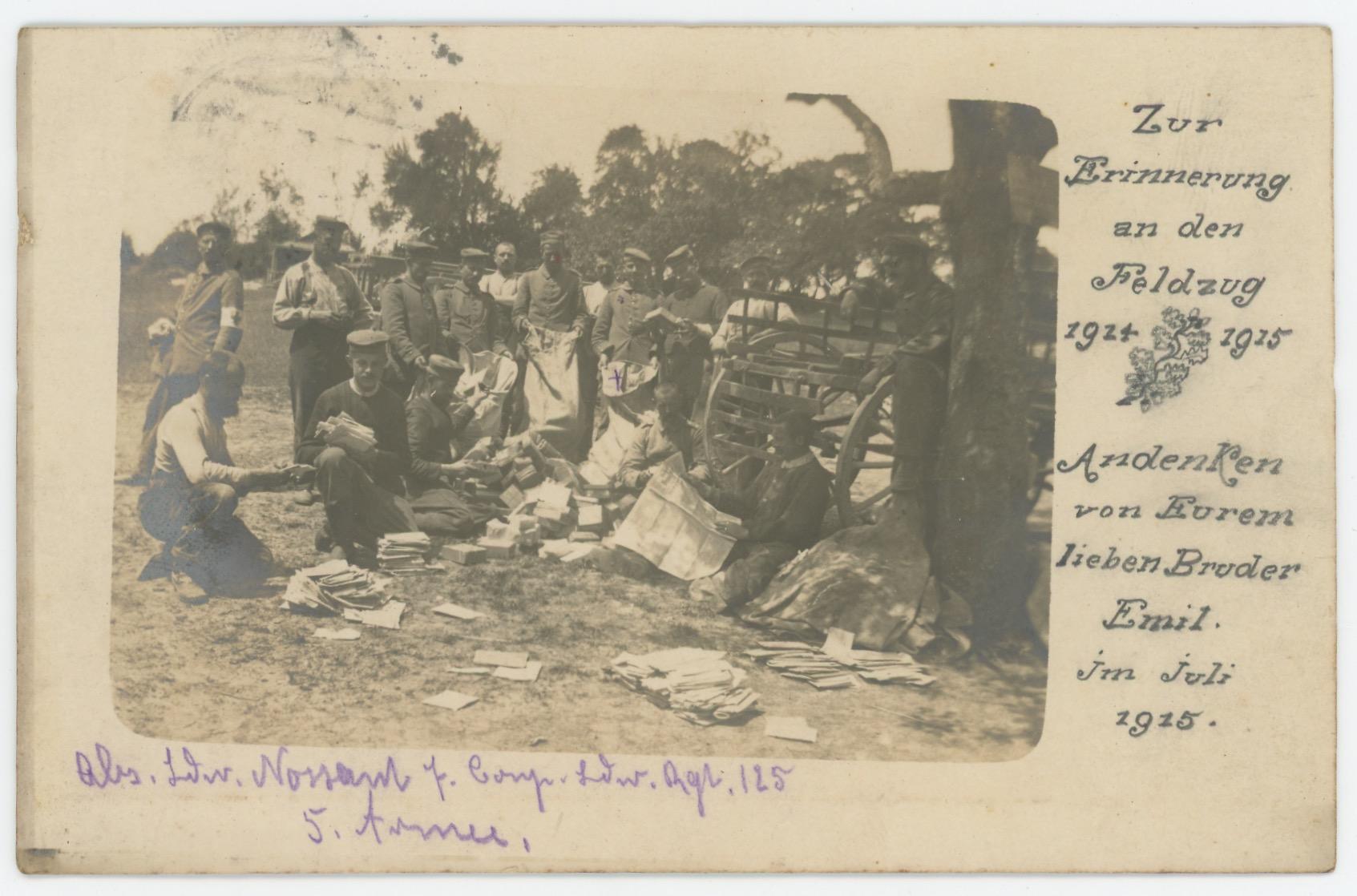 Carte Ancienne Photographie - Guerre 14/18 - Armée Allemande - 125ème Landwehr Infanterie - Prusse / Alsaciens - Conscription - Prusse Campagne 1914/1915 - Camp distribution courrier.