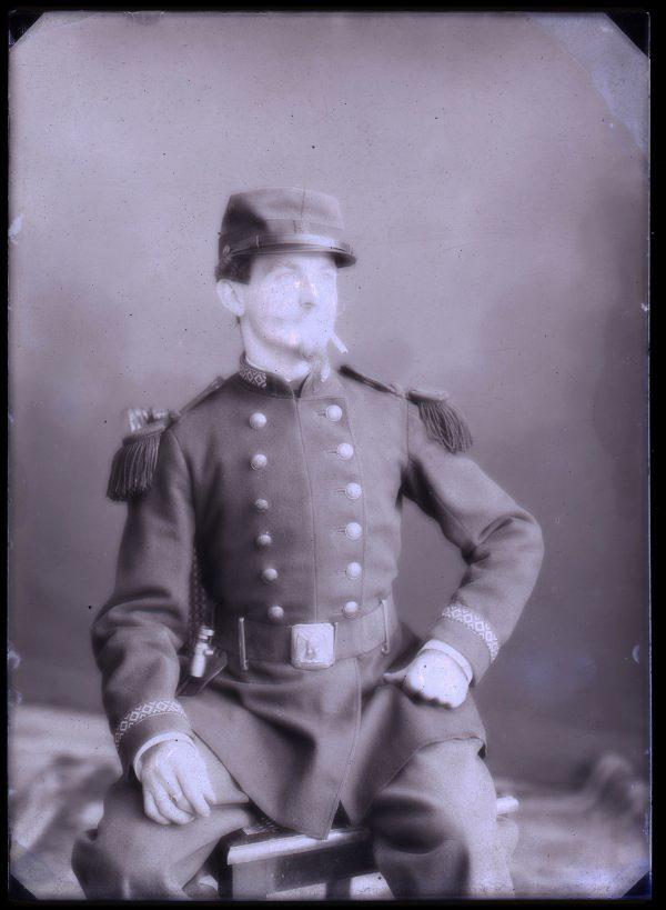 3 Cartes CDV photo 1873 - Plaque de verre - Uniforme Légion Etrangère 1er Régiment - Strasbourg - Militaire - Musicien - Début 3ème République