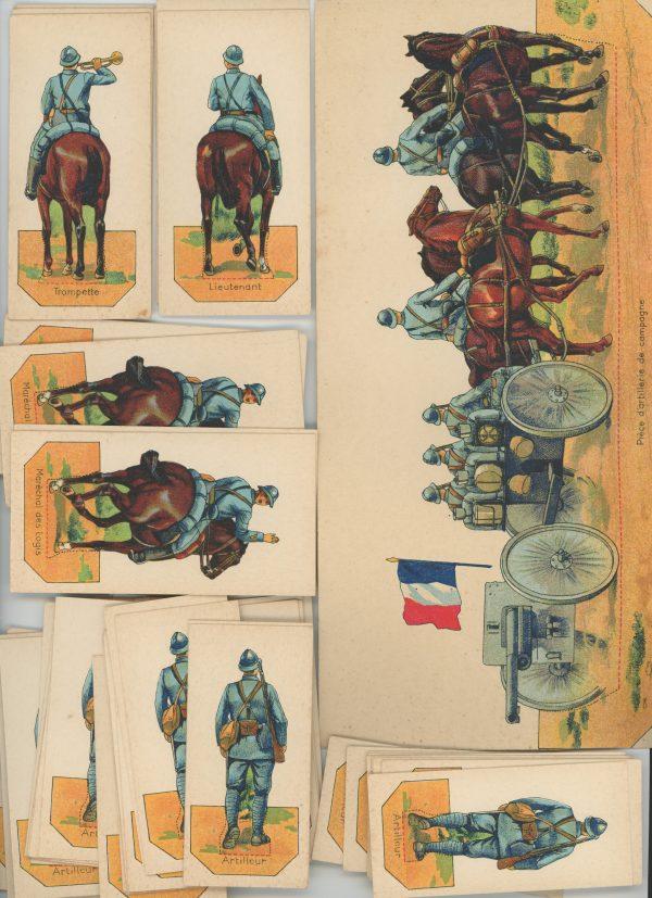 61 Petits Soldats Papier - Artillerie 1916/1918 - Planche Pro Francia - Uniforme - Guerre 14/18 - jeu