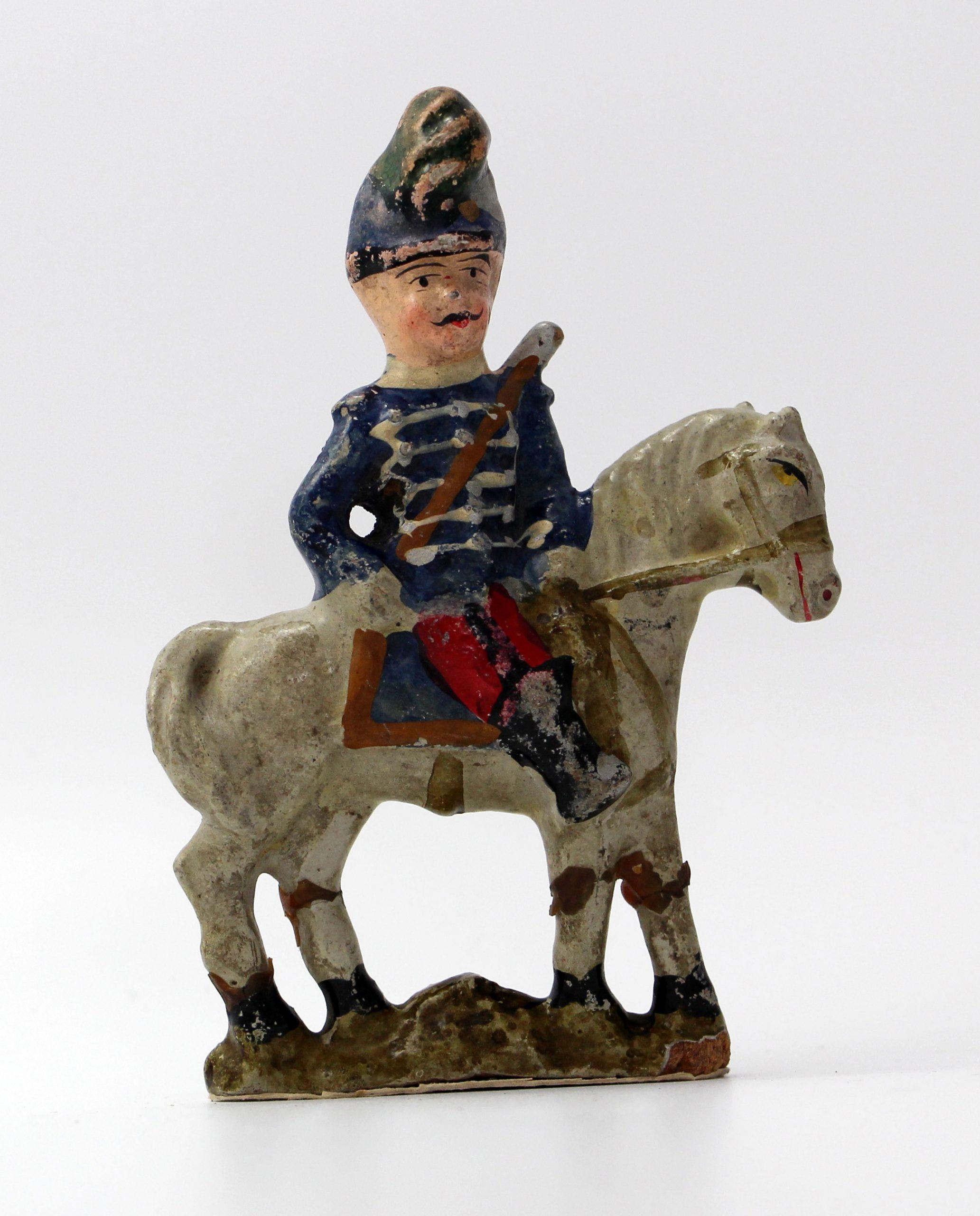 5 Anciennes Figurines Bon Dufour en composition - Cavalier - Soldats - Uniforme - 3ème République - Artillerie - Cuirassier - Hussard - Chasseur