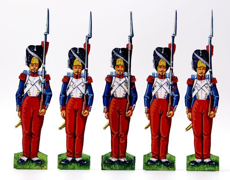 59 Petits Soldats de Strasbourg - Soldats Papier - Grenadiers de la Garde Impériale Second Empire - Musique et cantinière - Uniforme