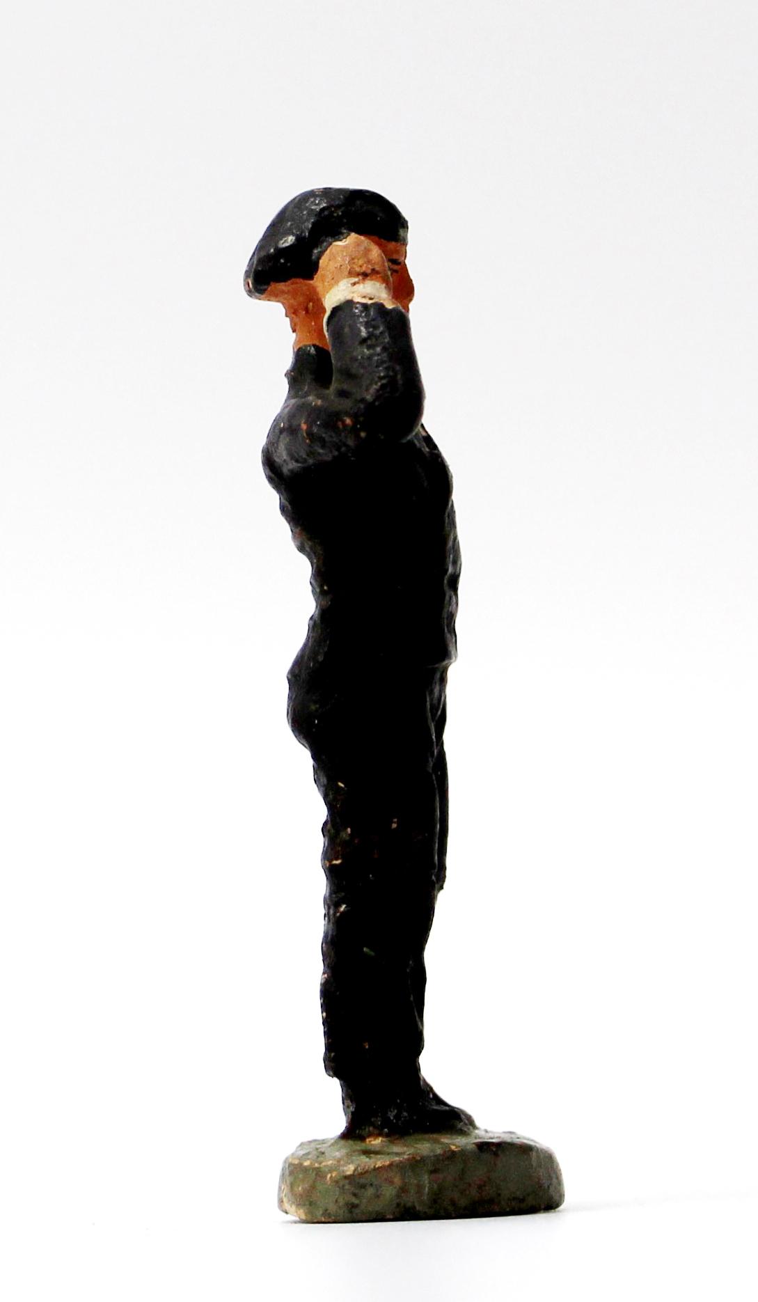 Ancienne Figurine en composition - Sans marque - Wehrmacht - Uniforme - Soldat - Guerre 39/45 - Conducteur de Char