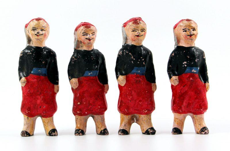 4 Anciennes Figurines Bon Dufour en composition - Zouaves - Soldats - Uniforme - 3ème République