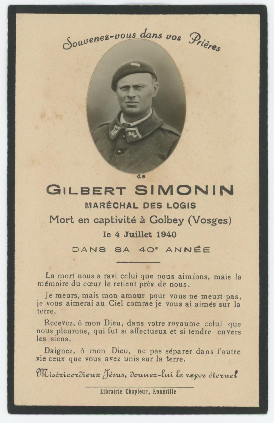 Faire part de décès - Soldat Français - 1940 - Captivité - Vosges - Golbey - Second Guerre Mondiale - Uniforme - Infanterie