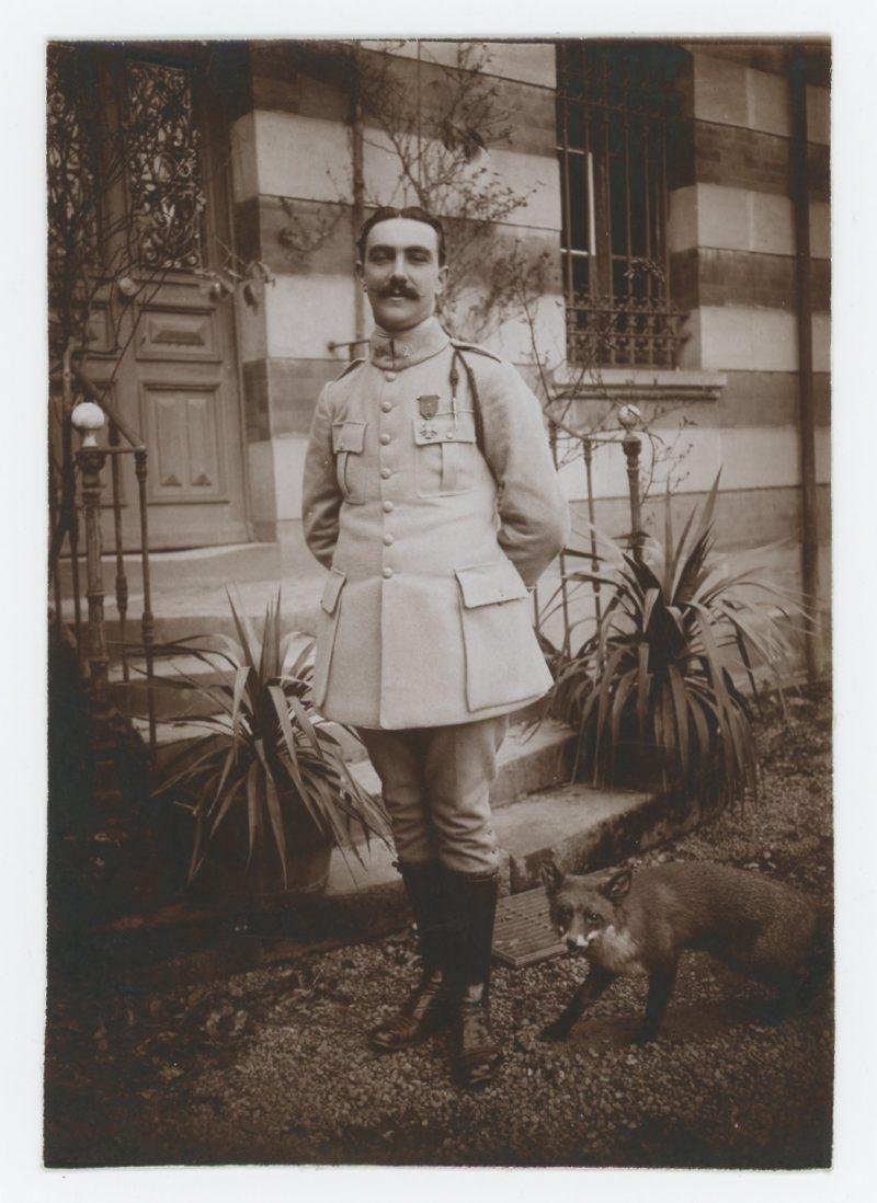 Photo papier originale - Soldat 14/18 - Médaille Militaire - Croix de Guerre Citation - Fourragère - Uniforme - 21 régiment à Définir - Renard Empaillé -