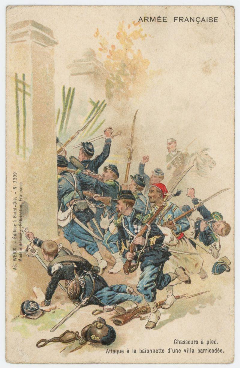 Carte Postale Illustrée - Infanterie Second Empire 1870 - Uniforme - Chasseurs - Turcos - Attaque a la baïonnette d'une villa barricadée