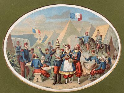 Gravure Chromolithographie XIX - Campement Zouaves - Cantinière - Uniforme - Cuirassier - 3ème République - Infanterie