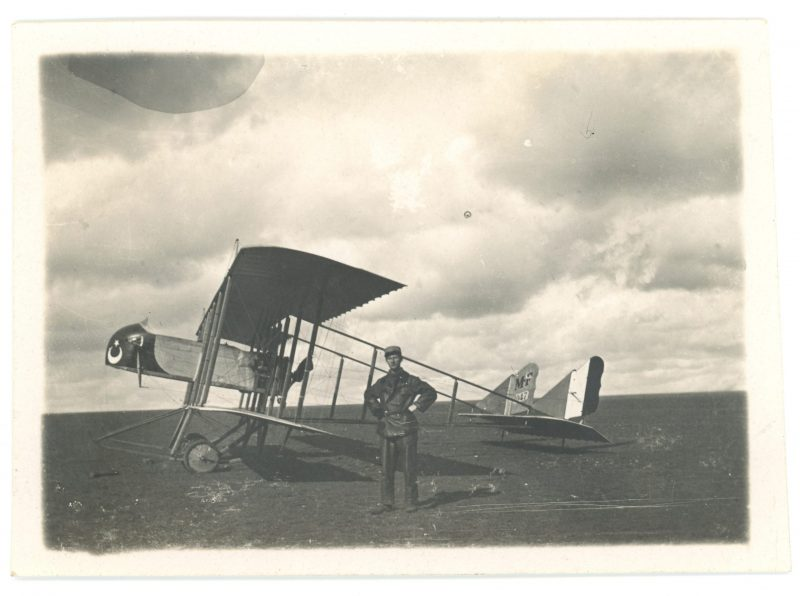 2 Snapshots - Photo papier originale - Aviation 14/18 - Bi-Plan - Officier