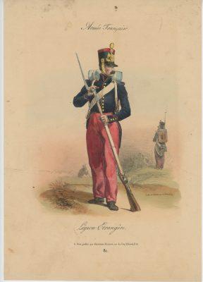 Gravure XIX - Martinet - L'armée française - Uniforme -Soldat - Monarchie de Juillet - 1830 et 1848 - Légion Etrangère