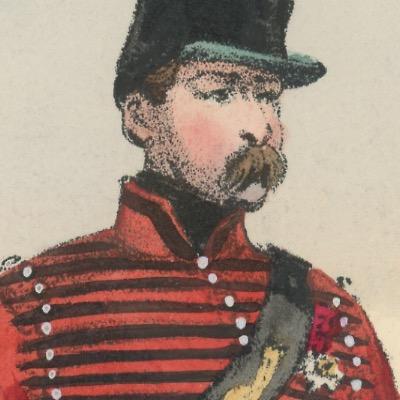 Gravure XIX - Martinet - L'armée française - Uniforme -Soldat - Monarchie de Juillet - 1830 et 1848 - Hussards 4 régiment Officiers