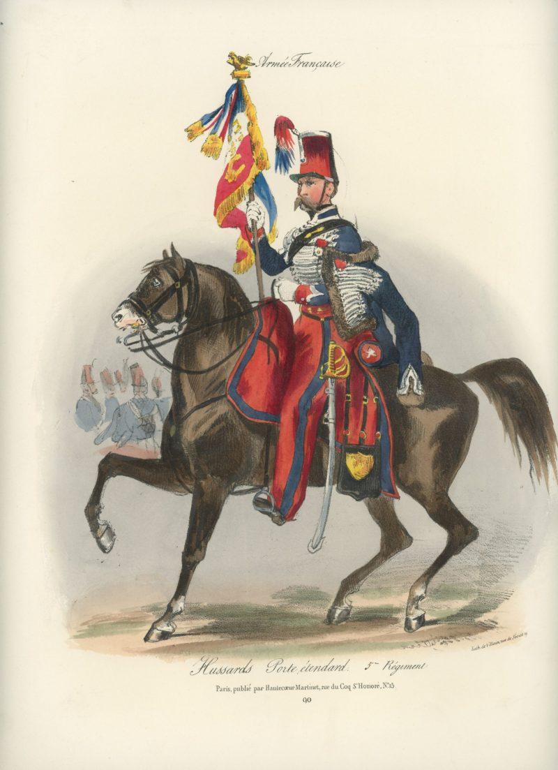 Gravure XIX - Martinet - L'armée française - Uniforme -Soldat - Monarchie de Juillet - 1830 et 1848 - Hussards 5 régiment Officier Etendard