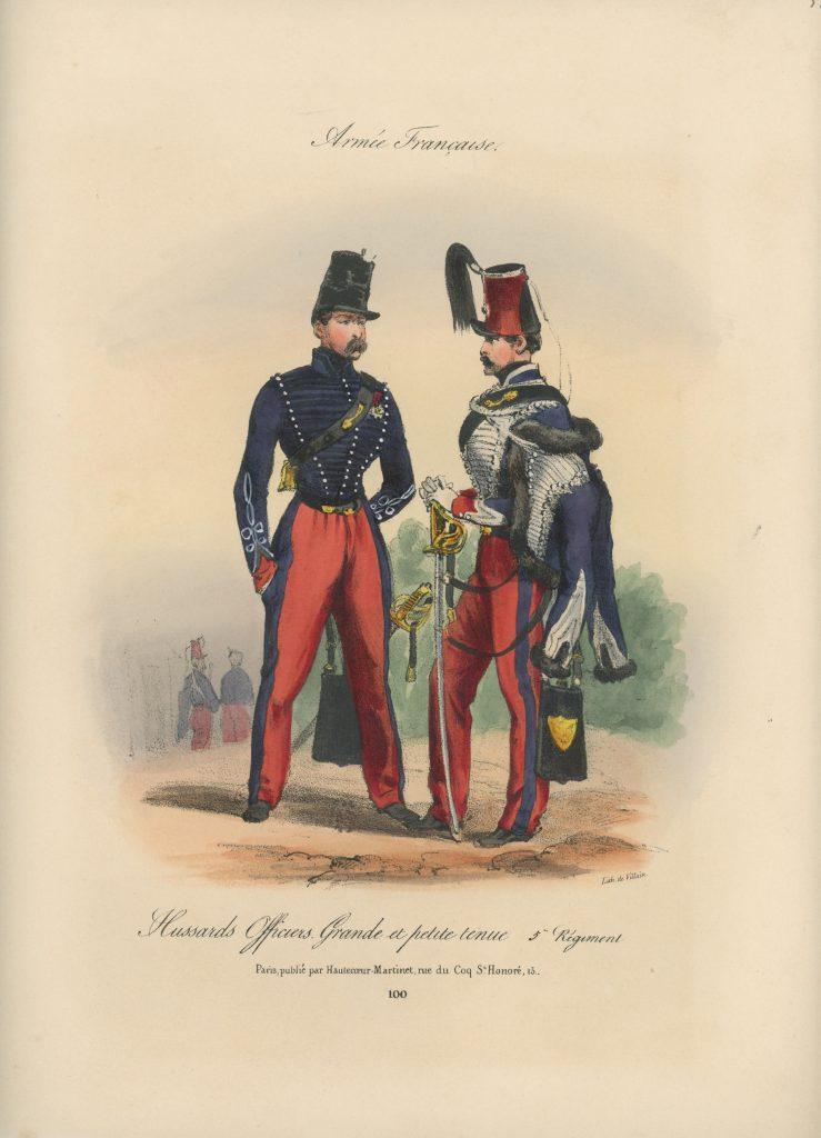 Gravure XIX - Martinet - L'armée française - Uniforme -Soldat - Monarchie de Juillet - 1830 et 1848 - Hussards 5 régiment Officier