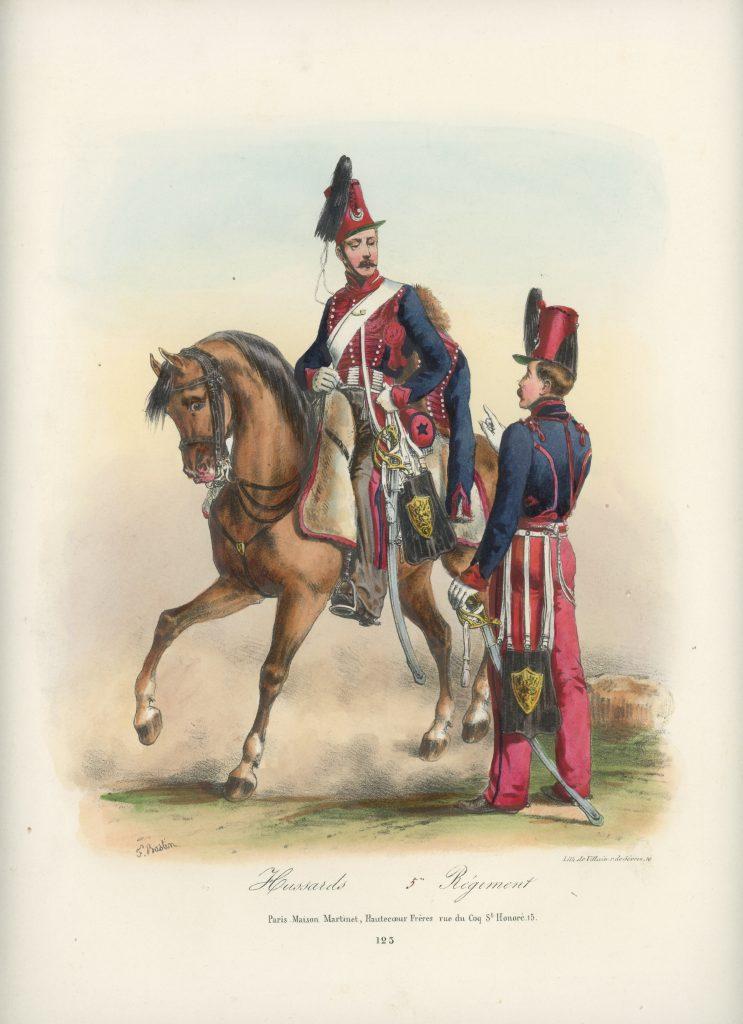 Gravure XIX - Martinet - L'armée française - Uniforme -Soldat - Monarchie de Juillet - 1830 et 1848 - Hussards 5 régiment
