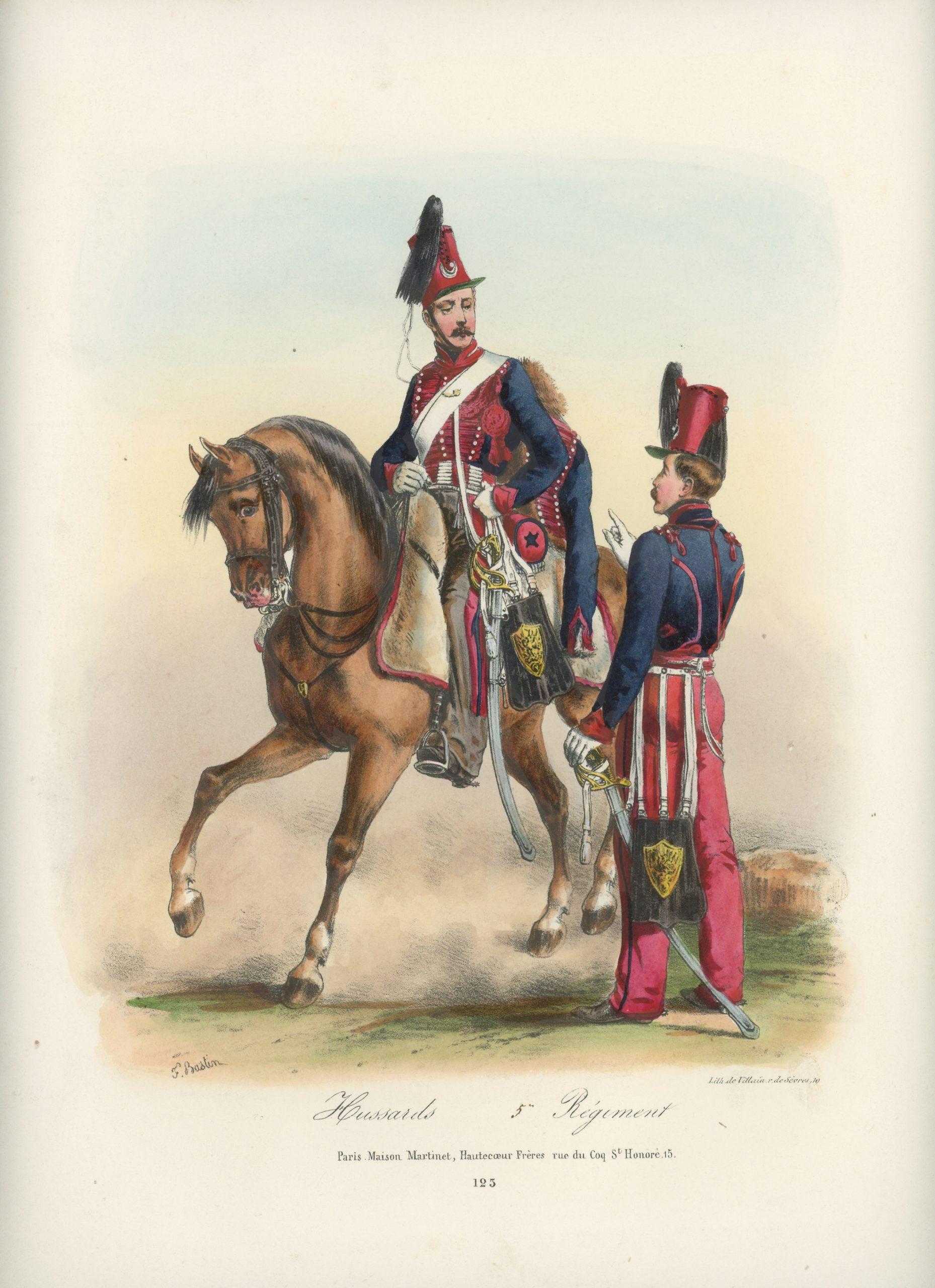 Gravure XIX - Martinet - L'armée française - Uniforme -Soldat - Monarchie de Juillet - 1830 et 1848 - Hussards 4 régiment