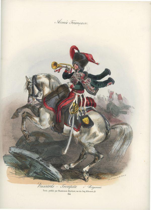 Gravure XIX - Martinet - L'armée française - Uniforme -Soldat - Monarchie de Juillet - 1830 et 1848 - Hussards 6 régiment Trompette