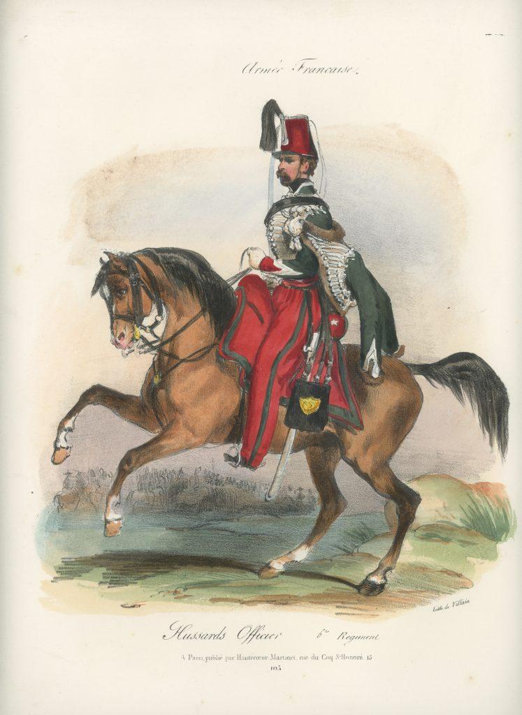 Gravure XIX - Martinet - L'armée française - Uniforme -Soldat - Monarchie de Juillet - 1830 et 1848 - Hussards 6 régiment Officier