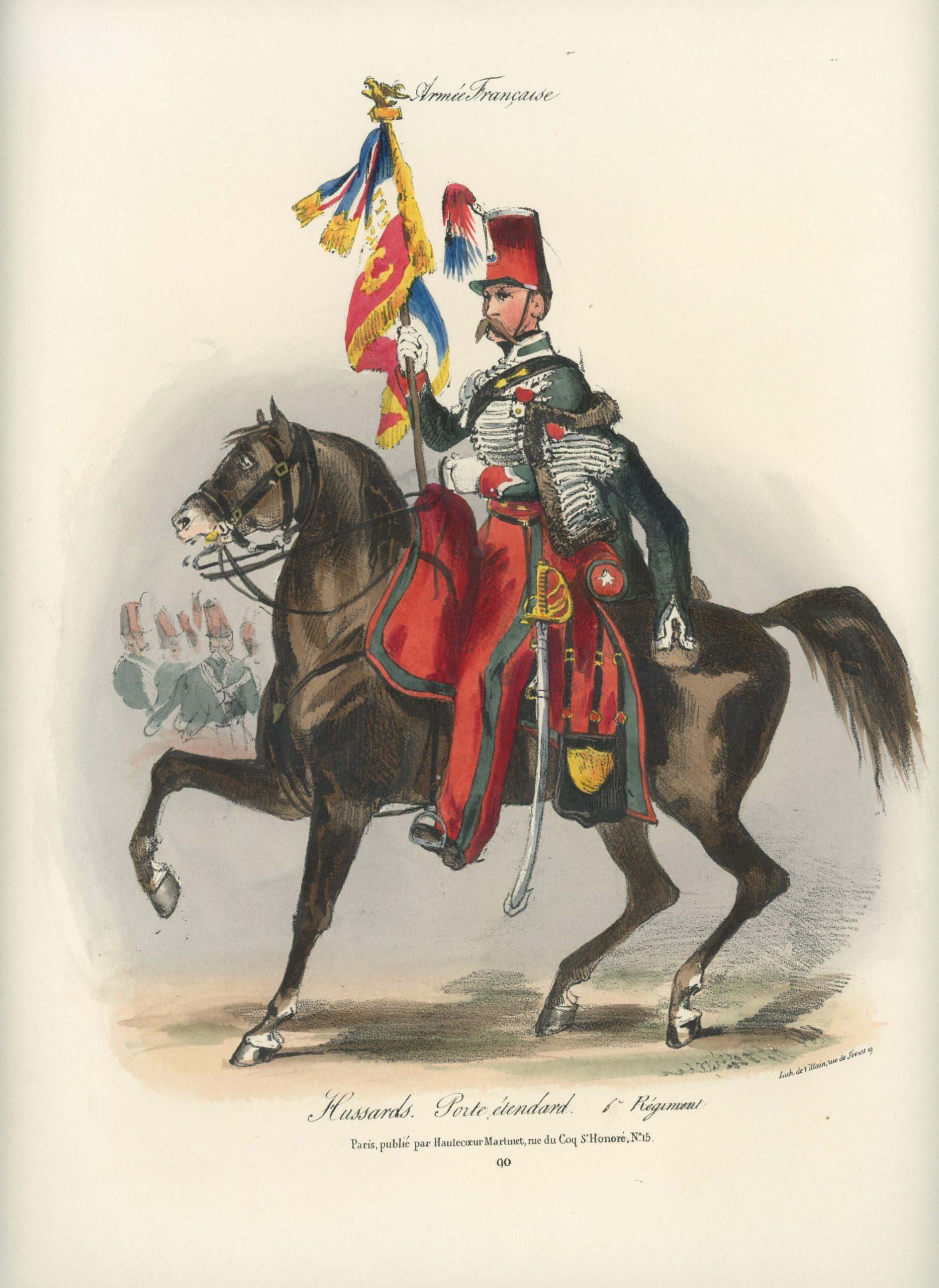 Gravure XIX - Martinet - L'armée française - Uniforme -Soldat - Monarchie de Juillet - 1830 et 1848 - Hussards 6 régiment Porte Etendard