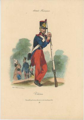 Gravure XIX - Martinet - L'armée française - Uniforme -Soldat - Monarchie de Juillet - 1830 et 1848 - Vétéran